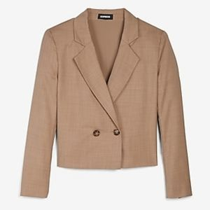 Express beige double breasted crop blazer